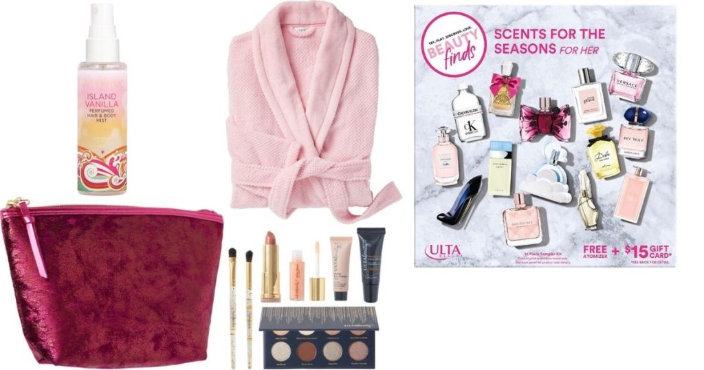 group of ULTA products and a robe