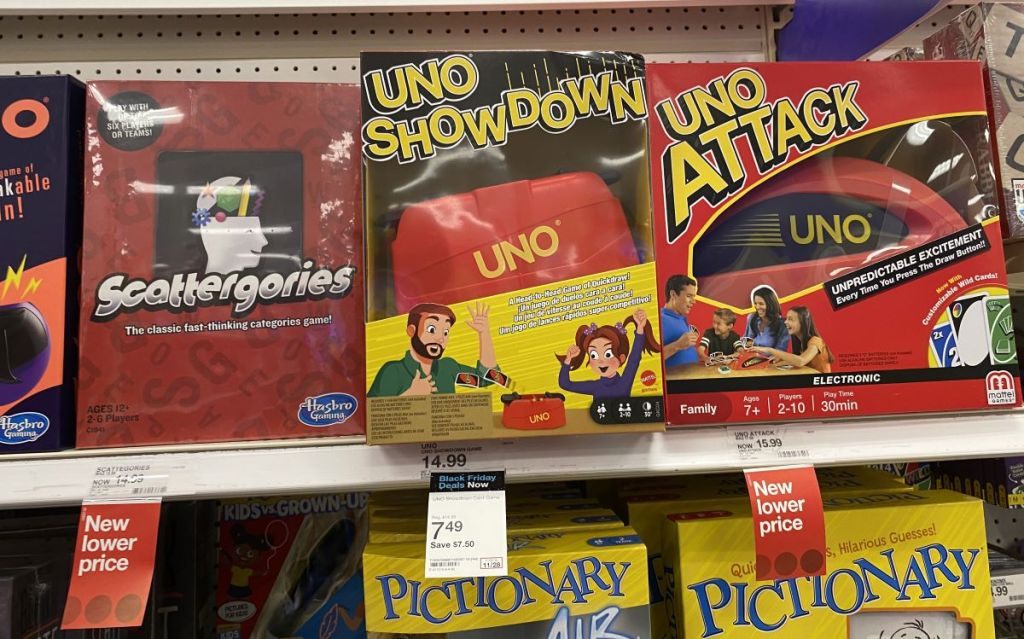 UNO games on shelf at Target