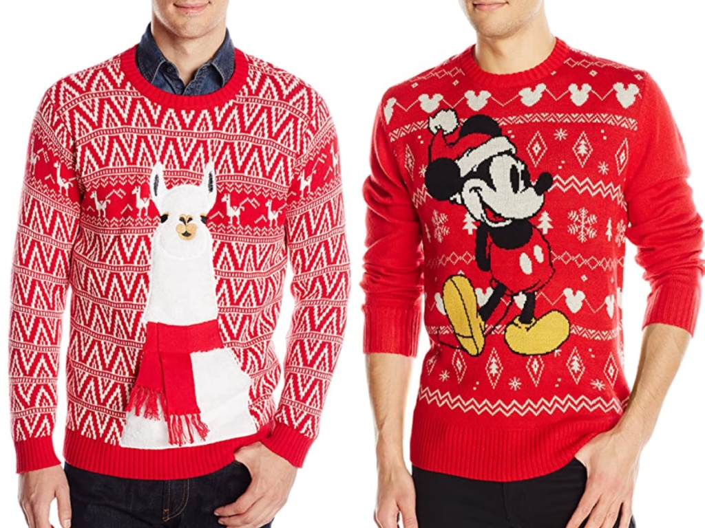 2 men wearing ugly christmas sweaters