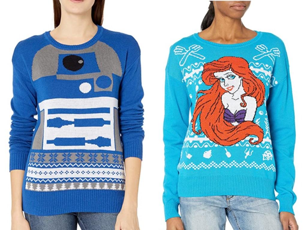 2 women wearing ugly christmas sweaters