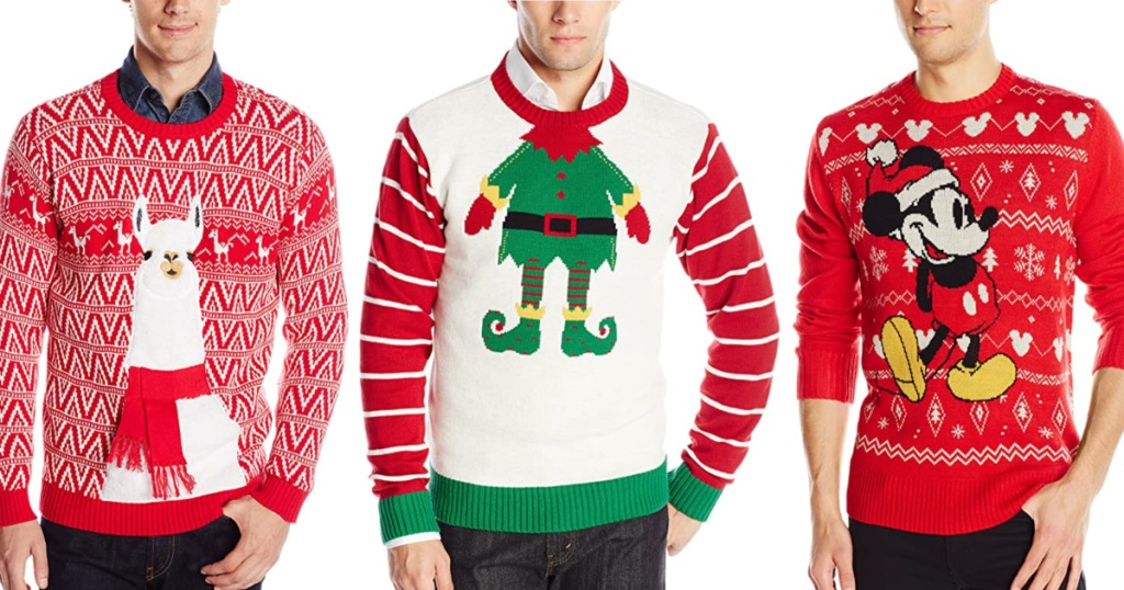 3 men wearing ugly christmas sweaters