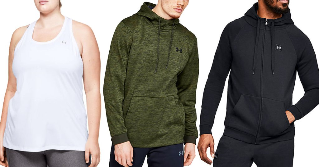 woman in white under armour tank, man in green pullover hoodie, and man in black zip-up hoodie