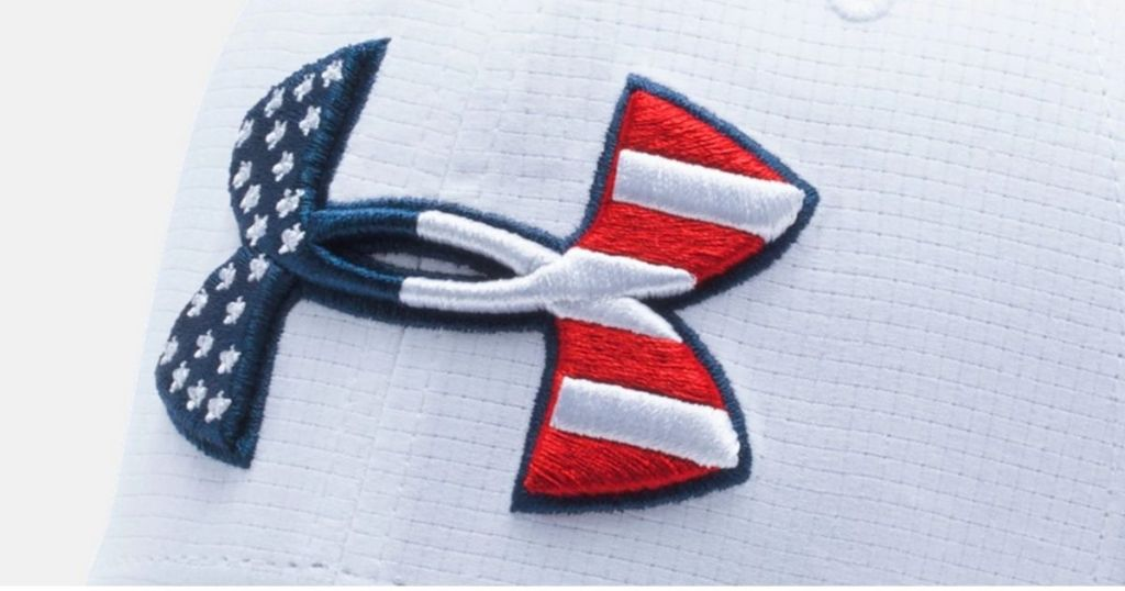 Red white and blue under armour symbol on white hat