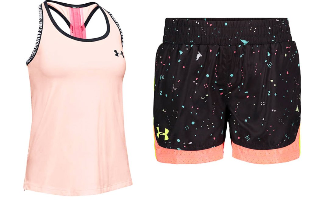 light pink girls racerback tank and black shorts with pink hem and paint splatter