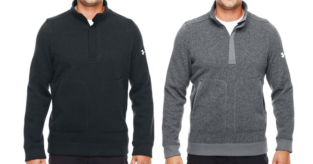two men modeling under armour quarter-zip jackets in black and grey