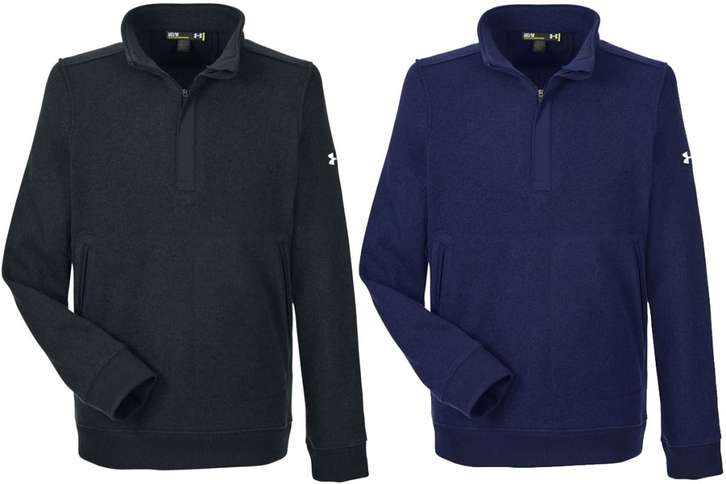two men's under armour quarter-zip sweaters in black and navy blue colors