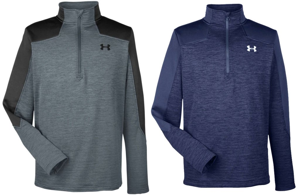 two men's under armour quarter-zip jackets in grey and navy blue