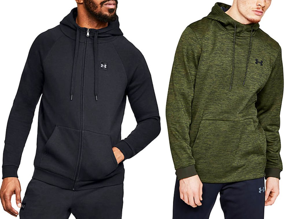 man modeling black under armour zip up hoodie and man in green under armour pullover