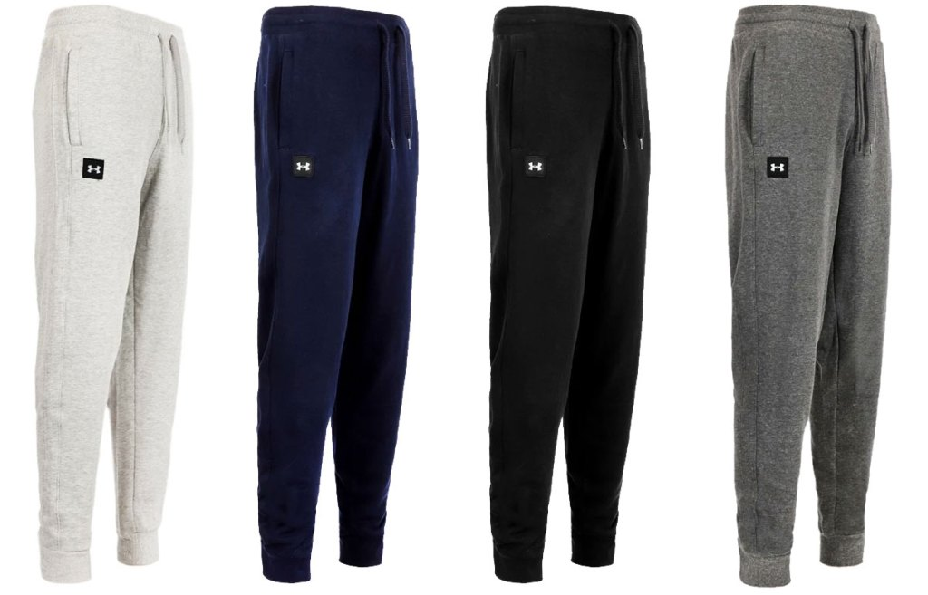 empat pasang celana jogger under armor warna abu-abu muda, biru navy, hitam, dan abu-abu tua