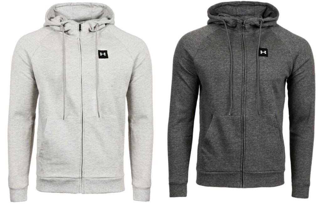 dua zip penuh di bawah hoodies baju besi dalam warna abu-abu terang dan gelap