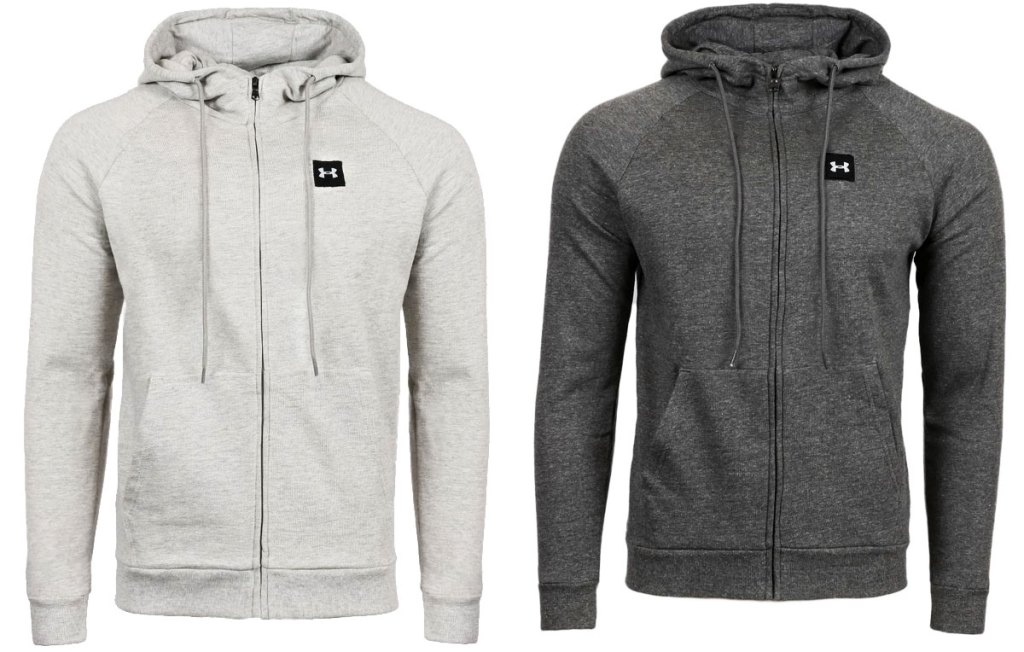 two full zip under armour hoodies in light and dark grey colors
