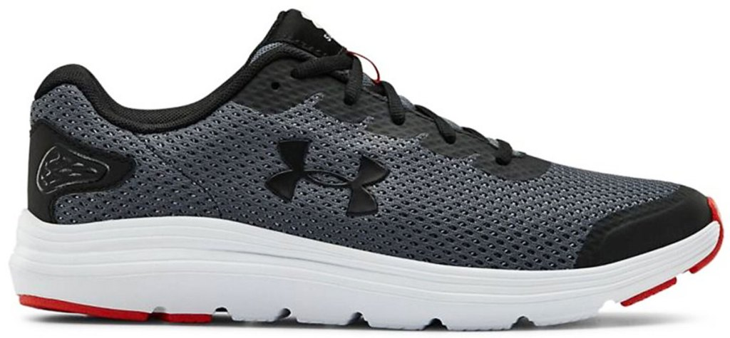 grey abd black mesh running shoe with under armour logo and white rubber sole