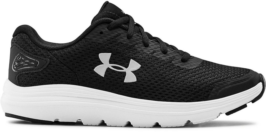 black and white mesh running shoe with under armour logo and white rubber sole