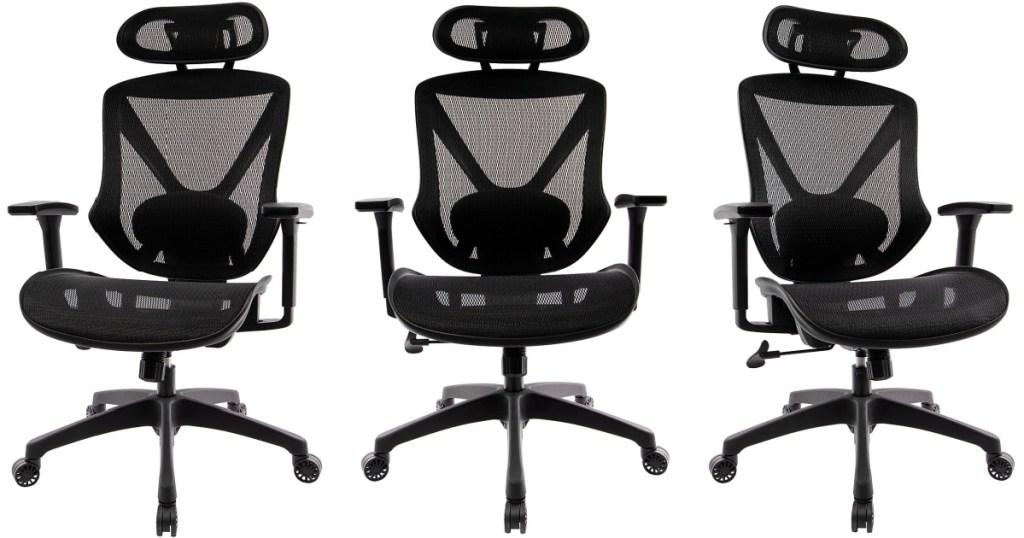 three mesh black office chairs