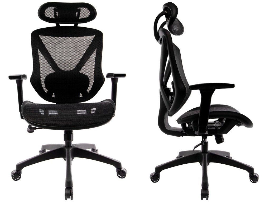 two mesh black office chairs