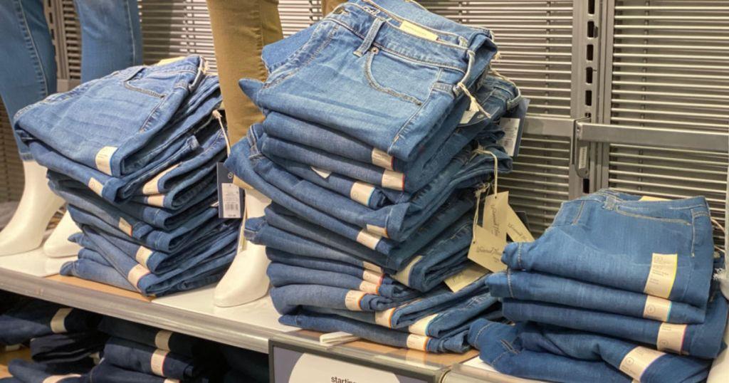 jeans on shelf