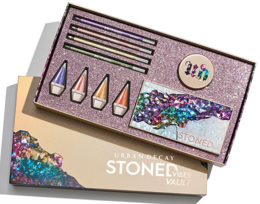 urban decay vault with eyeshadow palette, four liquid eye shadows, and four eyeliners