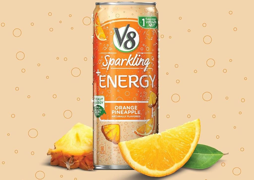 V8 Energy can with fruit next to it