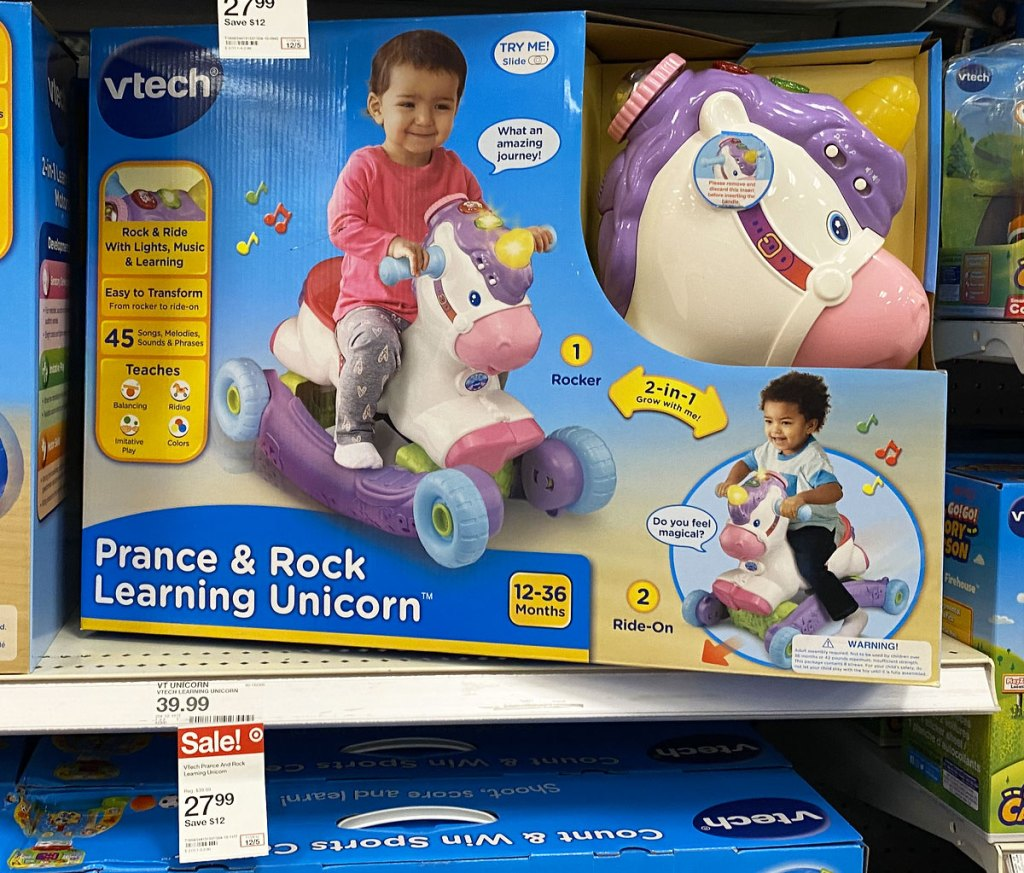 Vtech kids unicorn ride-on toy on shelf at target with sale tag