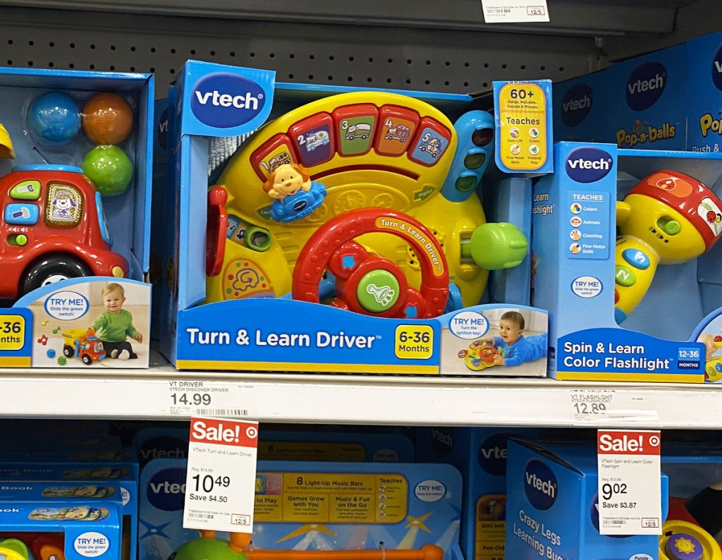 Vtech kids steering wheel toy on shelf at target with sale tag