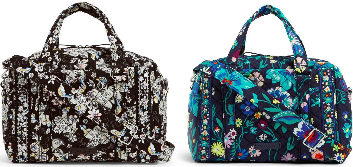 Two styles of floral duffel bags