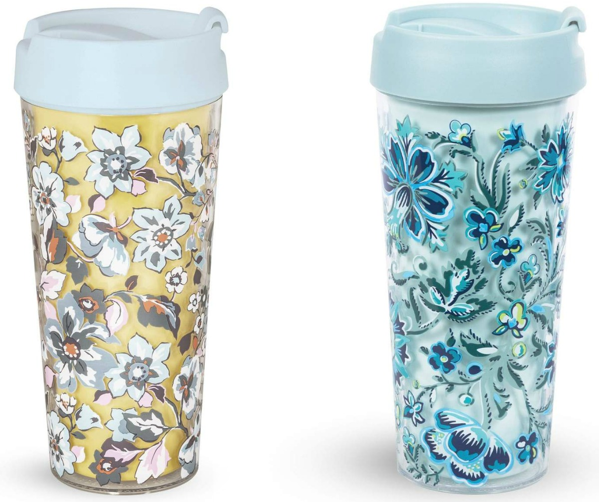 Two styles of Vera Bradley Travel cups - one yellow, one teal