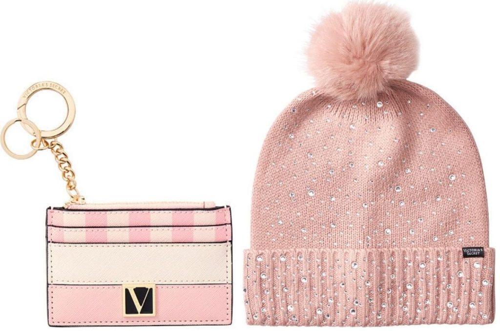 Victoria's Secret card case and pom pom winter hat