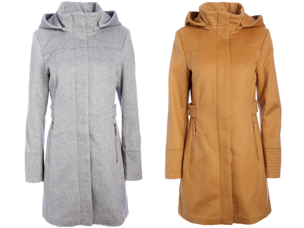 gray women's hooded jacket and camel women's hooded jacket