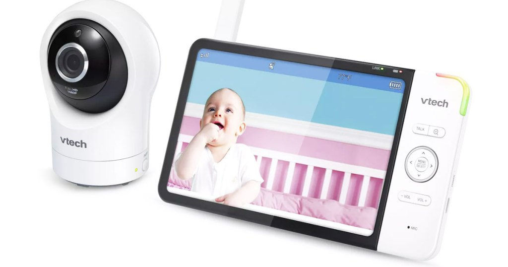 vtech full color baby monitor with round white and black camera