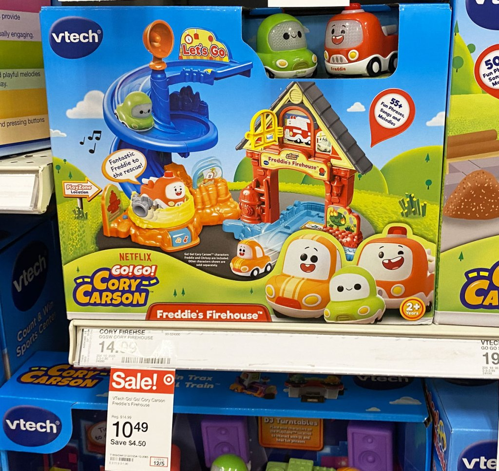 Vtech Cory Carson Firehouse playset on target shelf with sale tag
