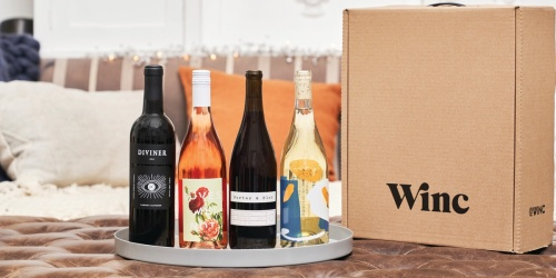 $25 Off Your First WINC Wine Delivery + FREE Shipping = 4 Bottles from $6.74 Each Delivered!