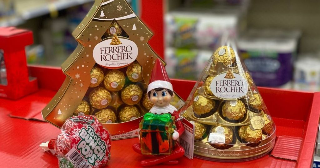Ferrero Rocher Trees, Elf on the Shelf candy and tootsie pops