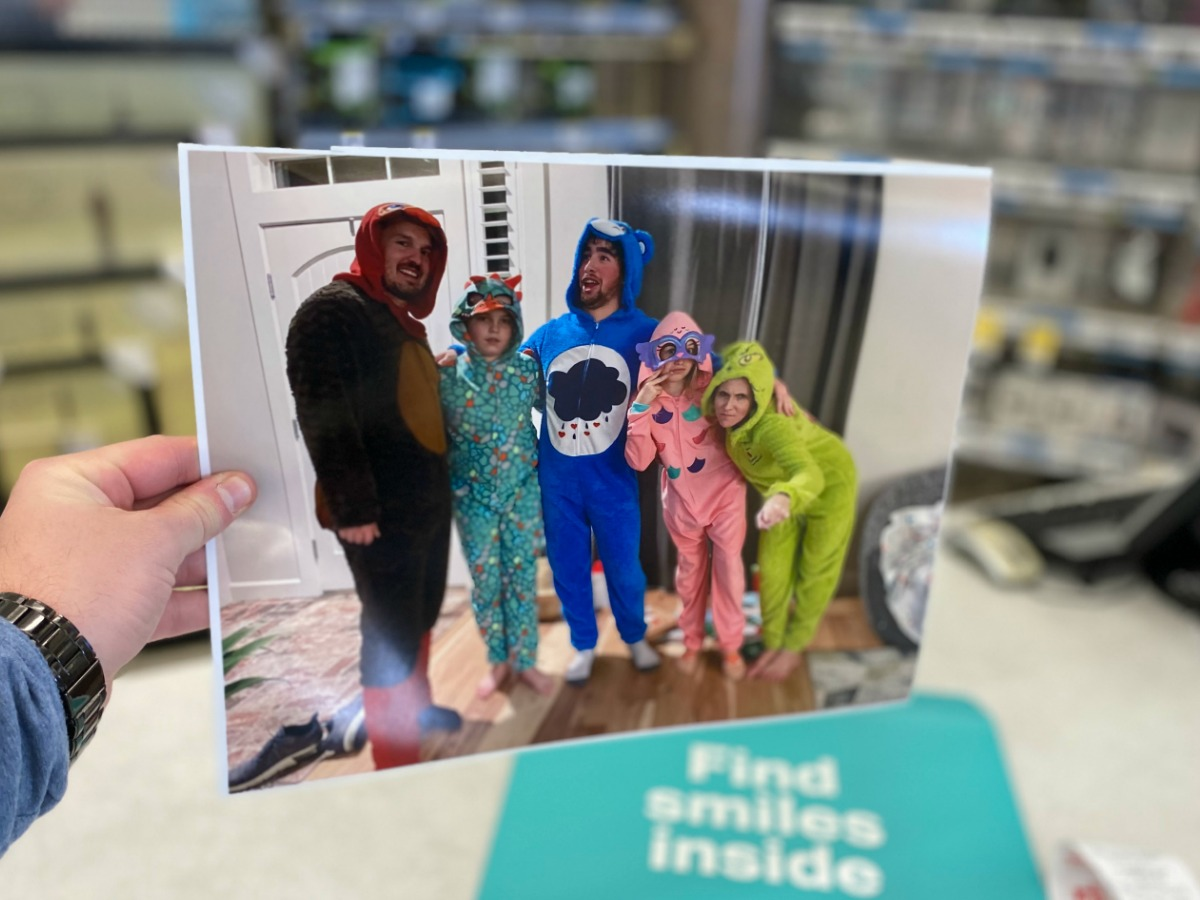 Poster print of a family in fun footie pajamas
