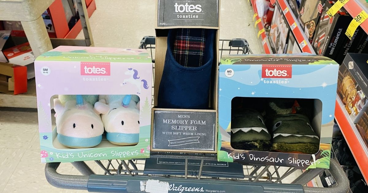 Walgreens Slippers for kids and adults in a cart