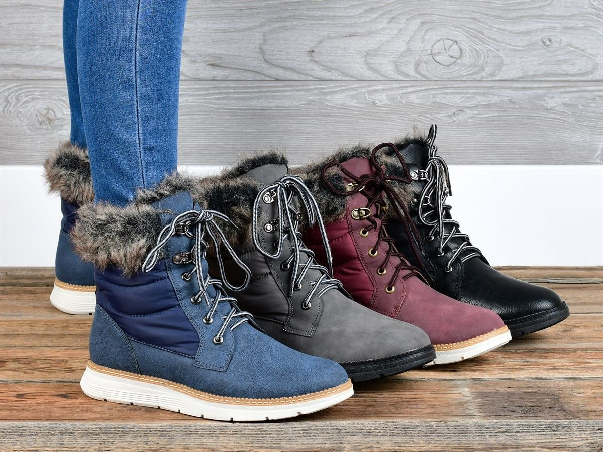 blue black red and gray fur boots