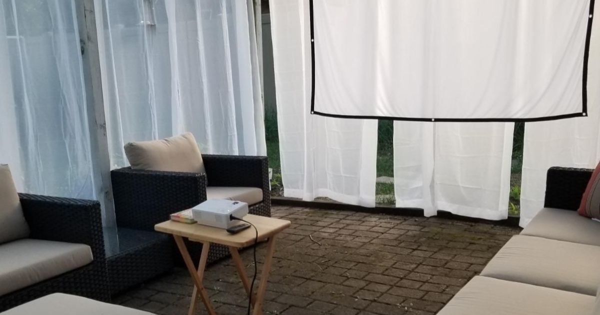 projector in front of home movie screen
