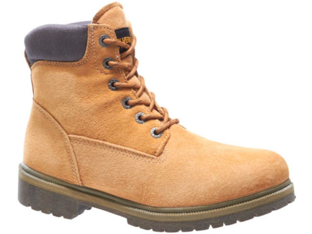 tan lace up Wolverine work boots