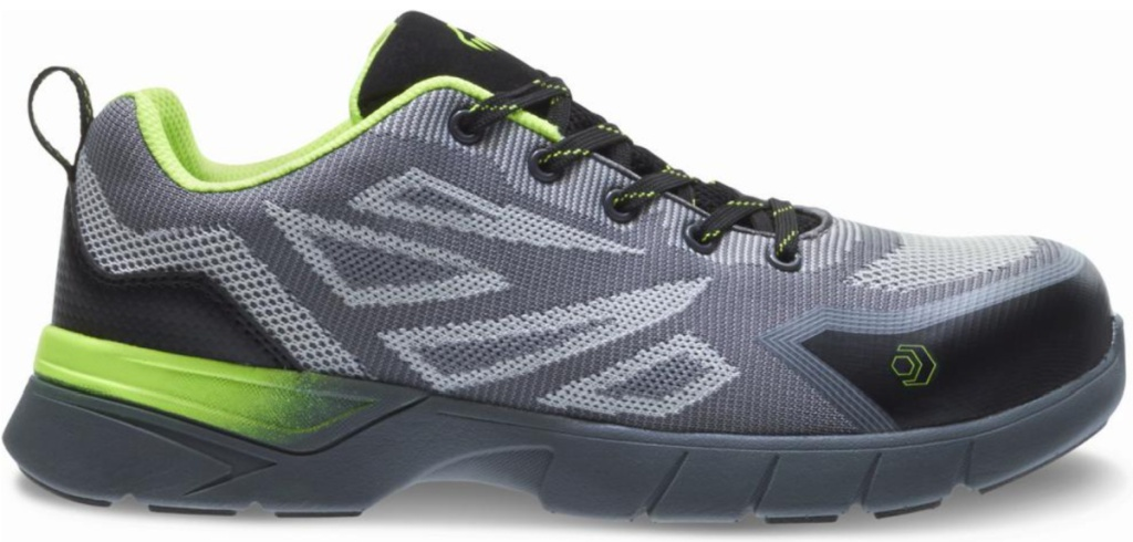 green gray and black running shoes