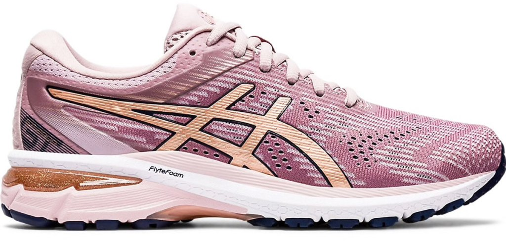 light pink mesh running shoe with light orange asics stripes and white foam sole
