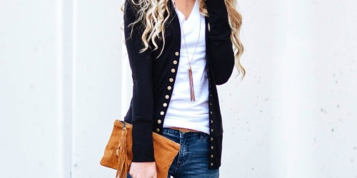Black Snap Button Cardigan Only $6.99 on Zulily