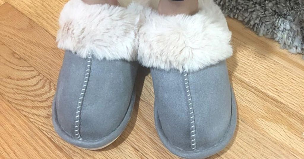blue and white fluffy slippers