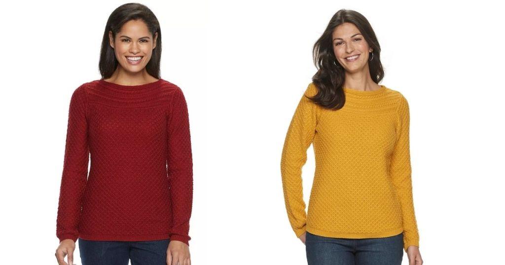 Maroom and Mustard Women's Croft & Barrow Textured Boatneck Sweater
