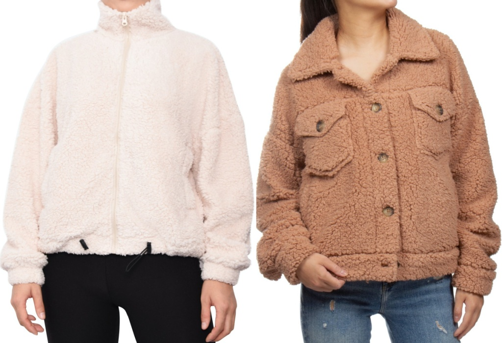 woman in white sherpa sweater and woman in tan sherpa jacket