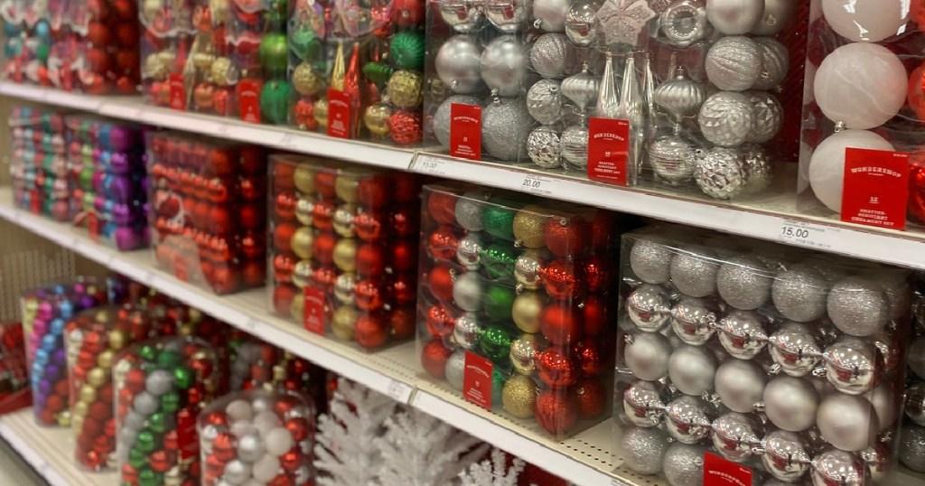 packs of ornaments on store shelf