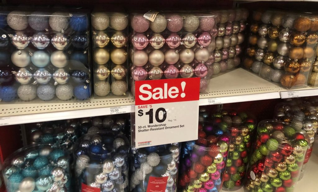 packs of round ornaments on store shelf