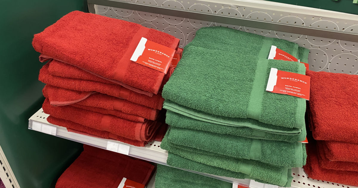 red and green towels on shelf