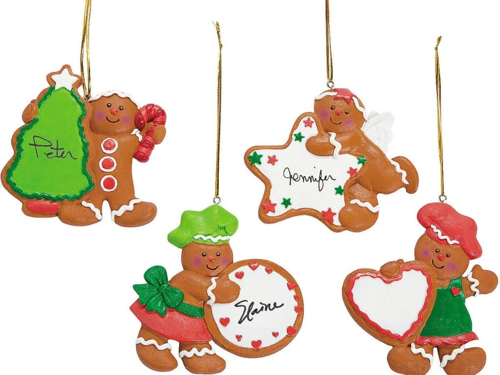 Four Gingerbread men write-on-oraments