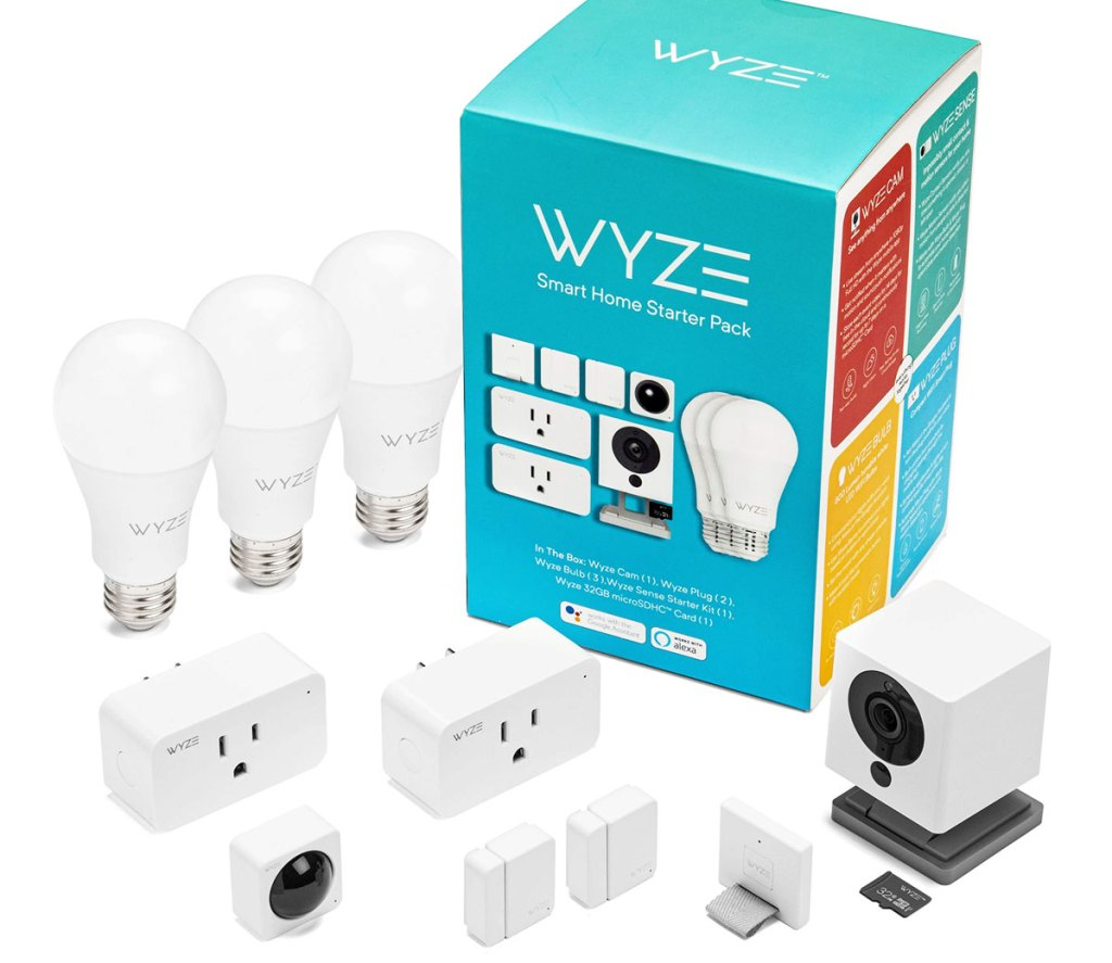 wyze smart home kit with indoor camera, three light bulbs, and two smart plugs