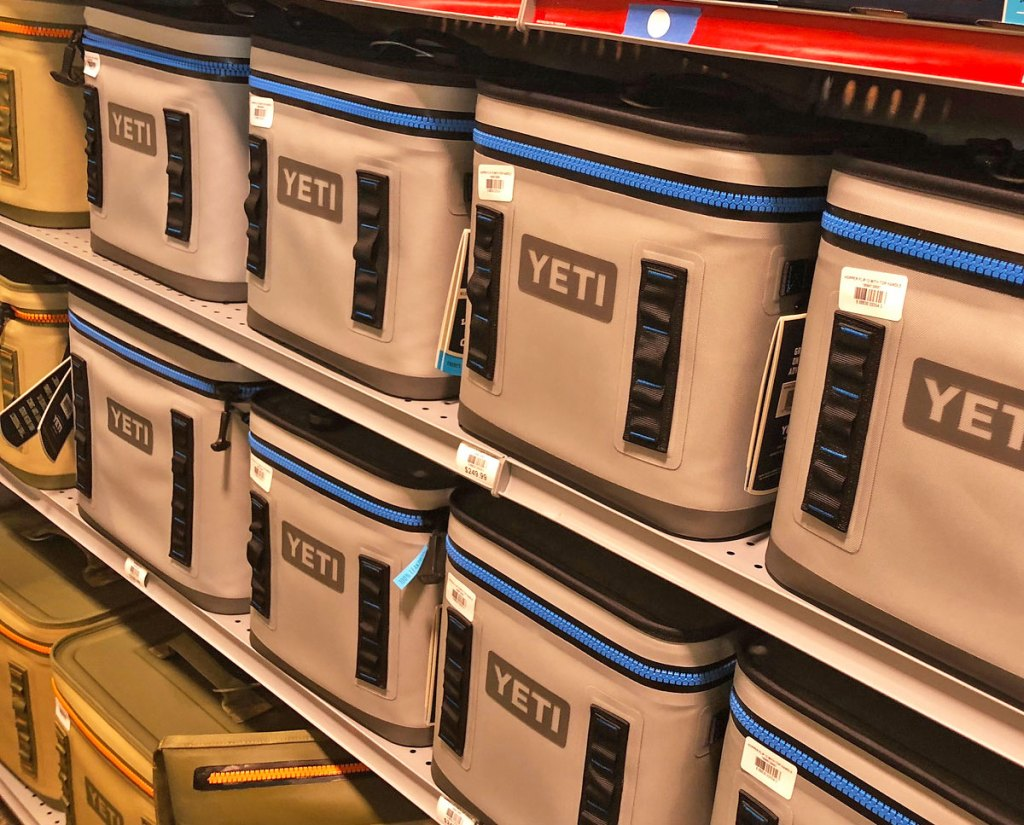 grey soft sided yeti coolers on store shelves