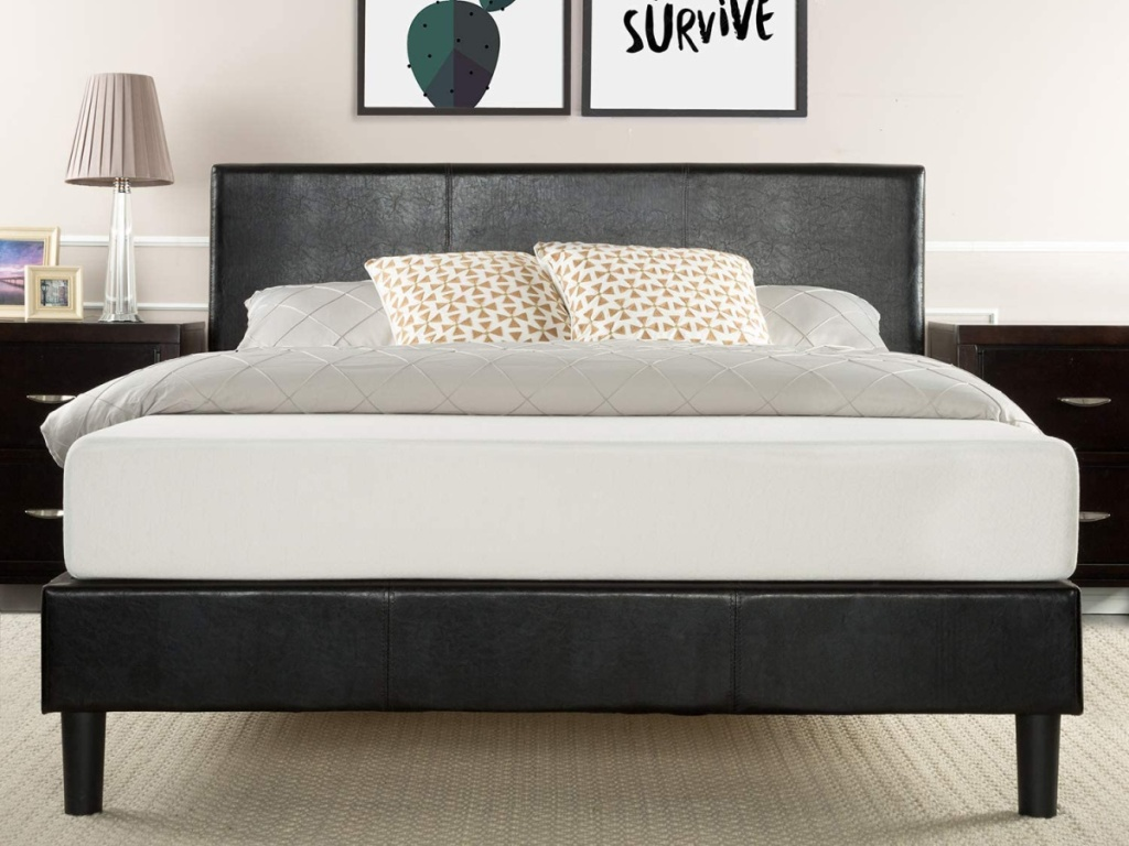 Zinus Jade Faux Leather Upholstered Platform Bed - Queen or King